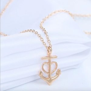 Nautical Anchor Heart Arrow Gold Pendant Necklace